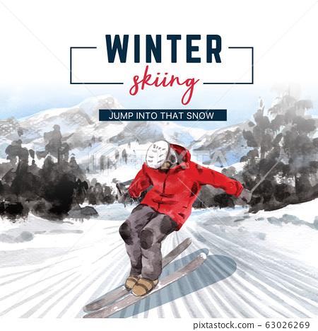 Winter sport social media design with ski, 63026269