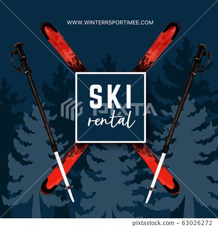 Winter sport social media design with ski, tree 63026272