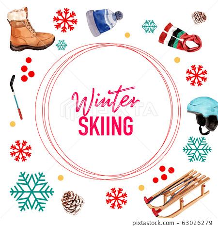 Winter sport social media design with helmet, 63026279
