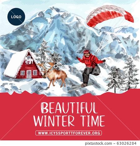 Winter sport social media design with parachute 63026284