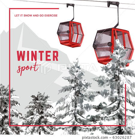 Winter sport social media design with ropeway 63026287