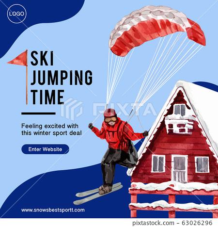 Winter sport social media design with ski, house, 63026296