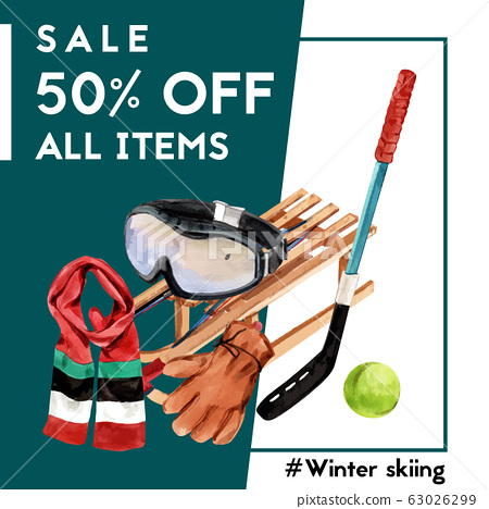 Winter sport social media design with gloves, 63026299