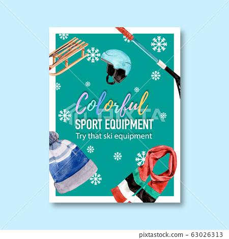 Winter sport poster design with hat, scarf, helmet 63026313