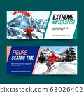 Winter sport banner design with iceberg, ski 63026402