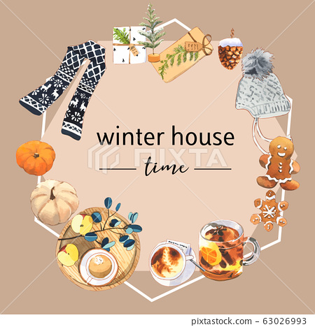 Winter home wreath design with book, cookies, 63026993