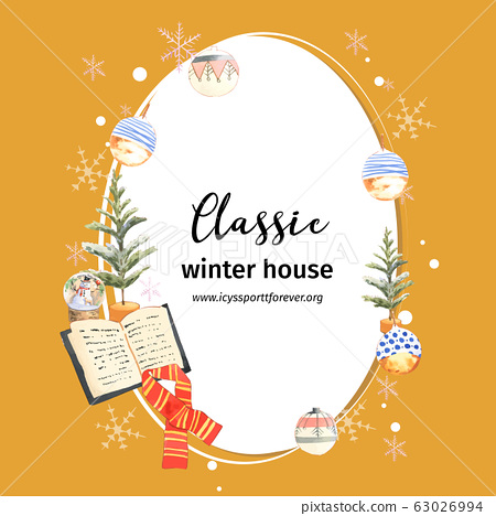 Winter home wreath design with book, scarf 63026994