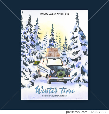 Winter home poster design with snow, tree, car 63027009