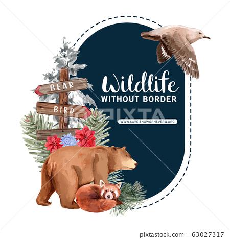 Winter animal wreath design with bear, fox, bird 63027317