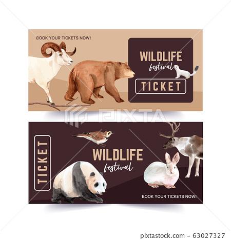 Winter animal voucher design with ferret, bear, 63027327