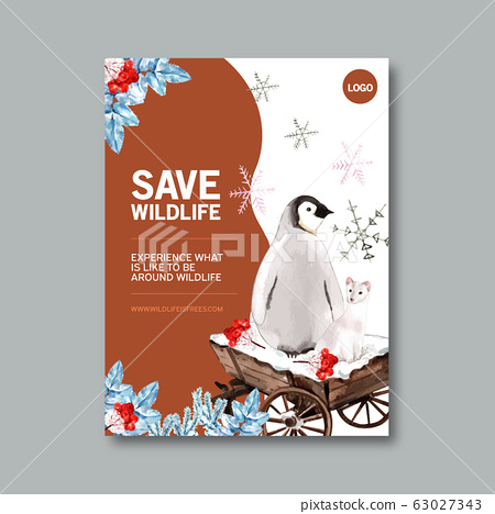 Winter animal poster design with penguin, ferret, 63027343