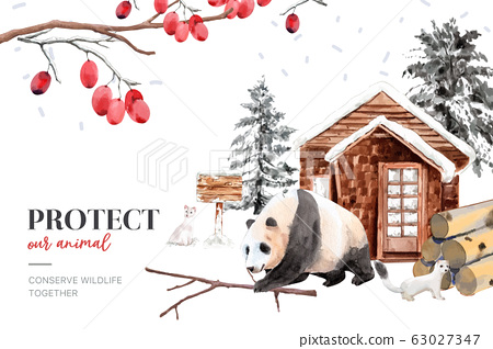 Winter animal frame design with ermine, panda 63027347