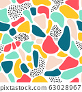 Seamless pattern abstract shapes Terrazzo mosaic style. Repeating collage background pink blue 63028967