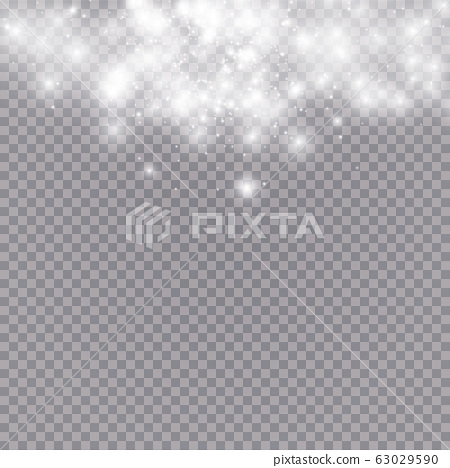 Glowing light effect with many glitter particles isolated on transparent background. Vector starry cloud with dust. Magic christmas decoration 63029590