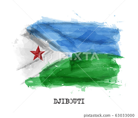 Realistic watercolor painting flag of Djibouti . 63033000