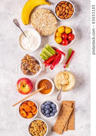 Healthy snack concept, top view. 63033185