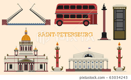St. Petersburg in Russia. European urban style. City bus, St. Isaac's Cathedral, telephone booth 63034243