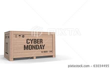 Crate with CYBER MONDAY text on white background. 3D rendering 63034495