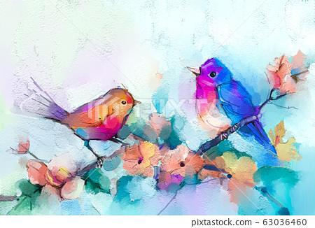 Abstract colorful oil, acrylic painting of bird and spring flower. Modern art paintings brush stroke on canvas. Illustration oil painting, animal and floral for background. 63036460