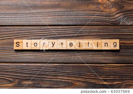storytelling word written on wood block. 63037869