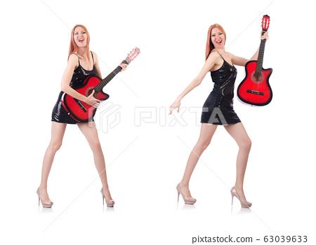 Female guitar performer isolated on white 63039633