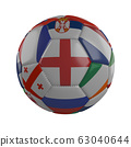 England flag on soccer ball with flags of Euro on a white background, 3D render 63040644
