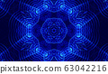 blue motion design background with symmetrical star pattern. Abstract sci-fi background with glow particles form curved lines, surfaces, hologram or virtual digital space. Floral structure 54 63042216