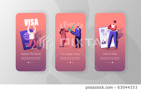 Travelers Approve Visa Mobile App Page Onboard Screen Set. People with Foreign and Native Passport, Traveling 63044353