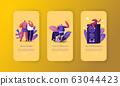 People Singing Mobile App Page Onboard Screen Set. Happy Friends Singing in Karaoke Club Having Active Weekend 63044423