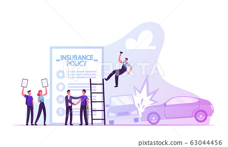People Fill Form Accident Insurance. Agent Shake Hand to Client, Man and Woman Hold Policy Documents 63044456
