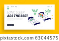 Afternoon Nap Time Website Landing Page. Little Kids Sleeping in Kindergarten or Elementary School. Kids Resting 63044575