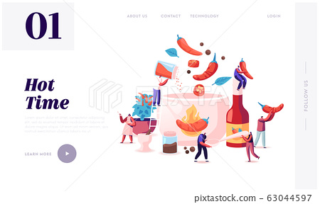 People Cooking Food with Hot Chili Website Landing Page. Tiny Characters Put Red and Black Chilli Pepper 63044597