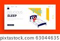 Little Girl Sleeping in Kindergarten or Elementary School Website Landing Page. Nap Time, Kid Rest and Relaxing 63044635