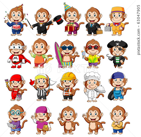 Cute monkey cartoon mascot pack 63047905