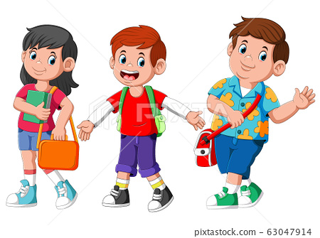Cute cartoon student kids friends 63047914