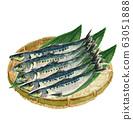 5 sardines sardines watercolor colander bamboo grass 63051888