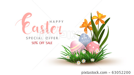 Happy Easter vector element for design.eggs in green grass with white flowers isolated on white background.Vector greeting card, ad, promotion, poster, flyer, web-banner, article,Vector 3D style 63052200
