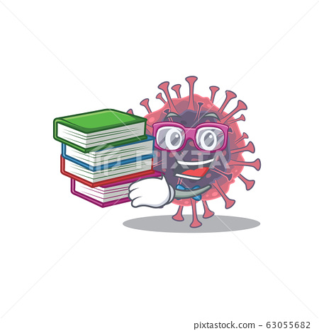 A diligent student in microbiology coronavirus mascot design with book 63055682