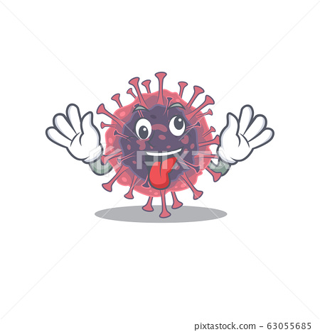 A picture of crazy face microbiology coronavirus mascot design style 63055685