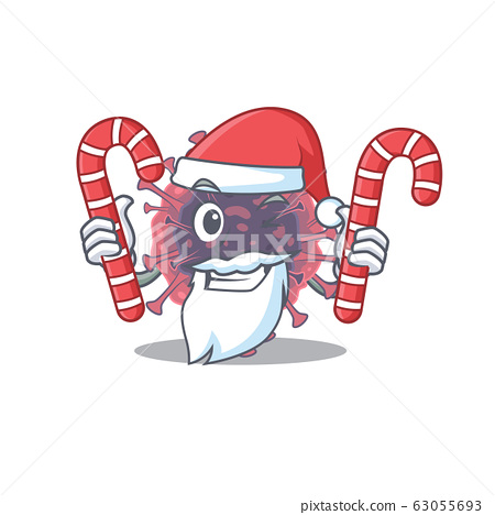 Friendly microbiology coronavirus in Santa Cartoon character having candies 63055693
