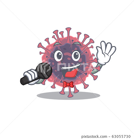 Cute microbiology coronavirus sings a song with a microphone 63055730