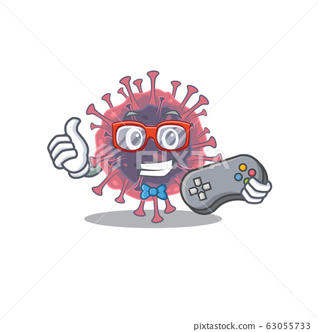 Cool gamer of microbiology coronavirus mascot design style with controller 63055733