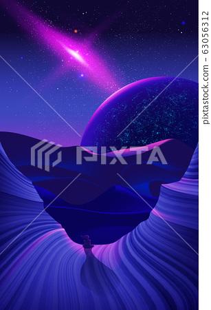Science fiction illustration of desert art at night time 63056312