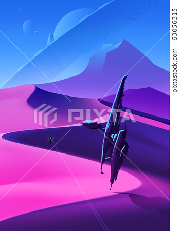 Spaceships Flying Over Desert 63056315