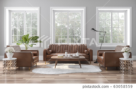 The vintage style living room is decorated with brown-orange leather sofas 3D render 63058559
