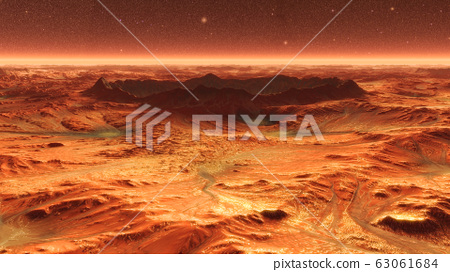 Mars Planet Surface With Dust Blowing. 3d illustration 63061684