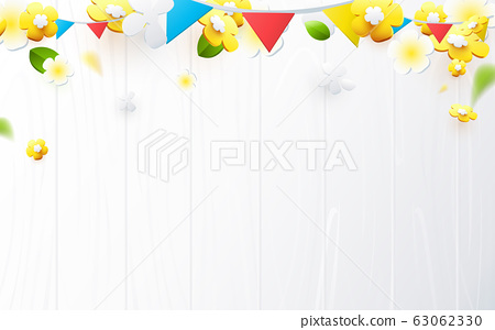 Composition of 3D spring season background. Colorful flower with white wood surface, garland 63062330