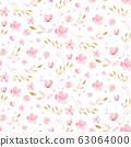 Spring bird seamless pattern on blooming branch with green leaves and flowers. Watercolor wallpaper backgraund wedding invitation card blossom painting. Hand drawn pink wreath design. Cherry isolated 63064000
