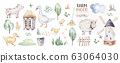 farms animal set mill. Cute domestic pets watercolor illustration. horse and goose. ranchp pig design with goat. rooster chicken and sheep, cow. 63064030