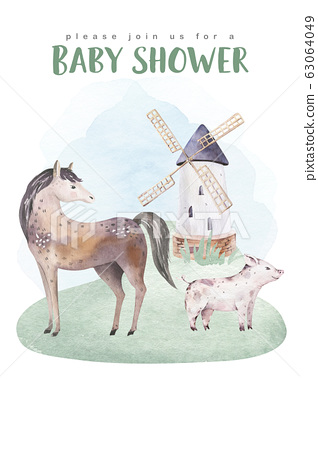Farms animal isolated set. Cute domestic farm pets watercolor illustration. horse and pig cartoon drawing. 63064049